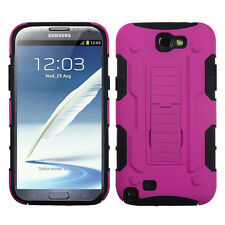 Hot Pink/Black Car Armor Stand case for SAMSUNG Galaxy Note II T889/I605/N7100