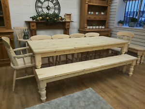New 8ft 7ft 6ft 5ft Solid Pine Dining Table & Matching bench raw or painted