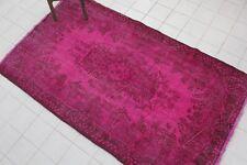 """Vintage Handmade Overdyed Pink Oushak Turkish Oushak Rug  83""""x47"""""""