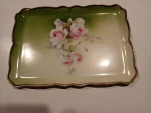 Antique Hand Painted DM Bavarian Floral Dresser Tray. Beautiful Pink Roses