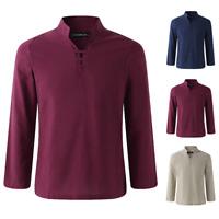 Men Autumn Casual V-Neck Long Sleeve Plain Stand Collar Retro Tee Top Shirts
