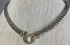 "David Yurman 16"" Double Wheat Chain Donut Sterling Silver Necklace w/ 18K Gold"