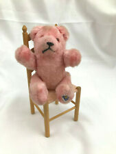 German PINK mohair bear ~ Pin Jointed w TAG & Glass eyes