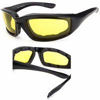 Chopper Wind Resistant Sunglasses Foam Padded Motorcycle Riding Glasses Yellow r