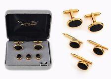 Christian Dior Herren Gold Schwarz Onyx Manschettenknöpfe 3 Shirt Nieten Smoking Designer Set