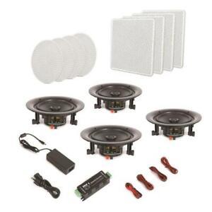 4 Speakers 8'' Bluetooth Ceiling / Wall Speaker Kit, Flush Mount 2-Way Home