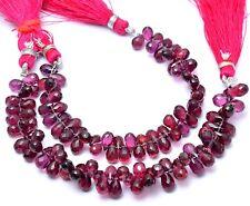 """Rhodolite Garnet Gemstone 6x4mm-7x5mm Faceted Teardrop Briolette Beads 5"""" Strand"""