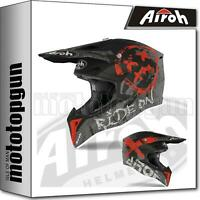 AIROH WRSM55 INTEGRALHELME OFF-ROAD MOTORRAD ROT MATT WRAAP SMILE M