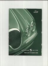JAGUAR S-TYPE 3.0 V6, 3.0 V6 SE & 4.0 V8  PRICE LIST SALES BROCHURE MARCH 2000
