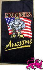 "Beach Blanket Towel Military U S Marines Corps Bulldog 30""x60"" NEW 100% Cotton"