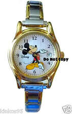 NEW Disney Mickey Mouse Moving Hands Italian Charm Date Watch HTF