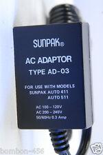 SUNPAK TYPE AD-03 AC ADAPTER FOR SUNPAK AUTO 411/511/611/522/544/555/622 -READ!
