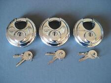 Trimax 3 Pack Keyed Alike Disc Locks Enclosed Cargo Trailer Door Storage Padlock