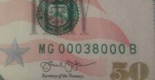 Federal Reserve Note - Fancy Serial Number $50 Fifty Dollar Bill