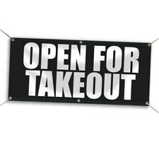 2 x 5 Open for Takeout Vinyl Banner - Black and White Outdoor Sign