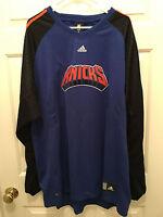 NWT Men's NBA New York Knicks Adidas Blue Warmup Shooting Shirt Jersey 2XL