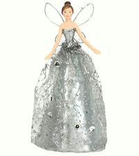 Gisela Graham Silver Glitter Christmas Fairy Tree Topper - Christmas Angel