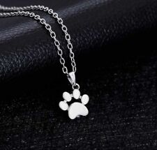 Paw Prints Necklace Gift Dog Lovers Dogs Silver Chain Pendant Rescue Adopt Mutt