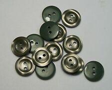 10pc Karki Green 16mm 2 Hole Cardigan shirt trouser Kids Baby Button 0195