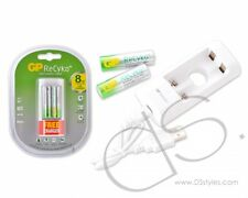 GP ReCyko+ Rechargeable AA Batteries 2000 mAh with Free USB Charger (2pcs)