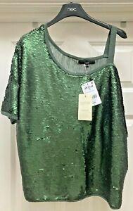 Womens Next Green Sequin One Shoulder Top - UK Sizes 6/8/10/12/14/18/20/22