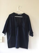 Womens Country Road Cotton 3/4 Sleeve Sheer Top Blouse Dark Navy Blue Size XS