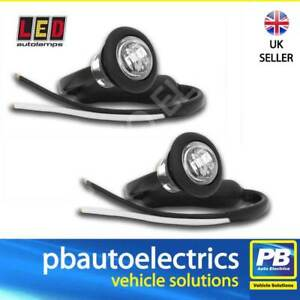 PAIR of LED Autolamps 181WME Trailer Round Front Marker Lights WHITE 12/24 Volt