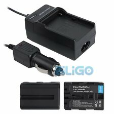 2Pcs 7.4V 1500mAh Replacement Li-Ion Battery for Sony NP-FM500H +Car Charger