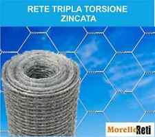 RETE TRIPLA TORSIONE ZINCATA   PER RECINZIONE GALLINE 25 METRI LINEARI.
