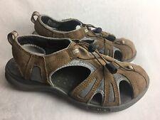 Clarks Wave Women 8.5 W Sport Sandals Brown Suede Fisherman Wide Shoes Excellent