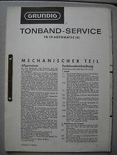 GRUNDIG TK 19 Automatic (U) Service Manual inkl. Ersatzteil Liste