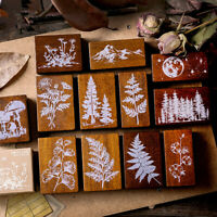 """""""Forest Life"""" 1pc Wooden Scrapbooking Stamp Beautiful Plant DIY Craft Stamps"""