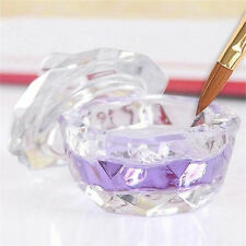 Top Crystal Glass Dappen Dish with Lid Bowl Cup Nail Art Craft Salon School Tool