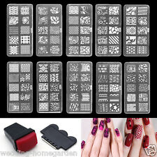 10 Design Set Nail Art Polish Manicure Stamping Template Plate Scraper DIY New