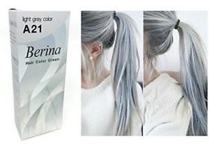 Berina A21 Light Grey Silver Permanent Hair Dye Color Cream Unisex - Punk Style
