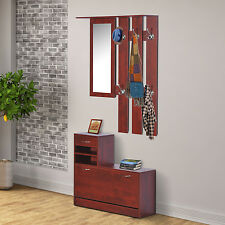 HOMCOM Shoe Bench Storage Wardrobe Coat Hanger Rack Mirror Entryway Organizer