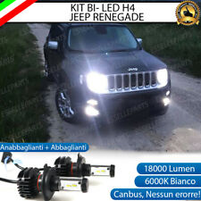 KIT LED H4 6000K JEEP RENEGADE 18000 LUMEN CANBUS XENO XENON 100% NO ERRORE