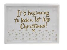 CHRISTMAS LED LIGHT UP SIGN PLAQUE GIFT WOODEN BATTERY OPERATED WALL HANGING NEW