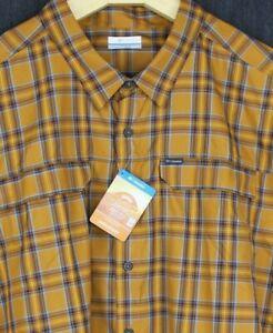 Columbia Omni-Shade UPF 50 Long Sleeve Camp Shirt Fishing 4XL 4X Orange Plaid