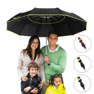 """62"""" Extra Oversize Large Compact Golf Umbrella Double Canopy Vented Windproof ED"""