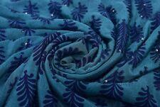 Vintage Saree Pure Georgette Silk Hand Beaded Floral Blue Violet Fabric Sari 5yd