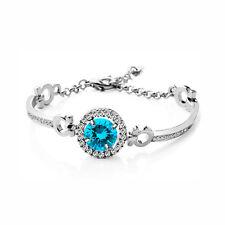 Luxury Silver Tone Light Ocean Blue Zircon Circle Shiny Bangle Bracelet BB164