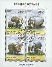 Timbres Animaux Hippopotames Cote d'Ivoire 1314/7 o année 2014 lot 14557