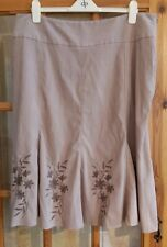 Ladies Brown Skirt Floral Embroidery Size 20 Bon Marche (B)