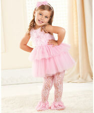 NWT Mud Pie PINK ROSETTE DRESS & LACE LEGGINGS 12-18 mons.1st BIRTHDAY!