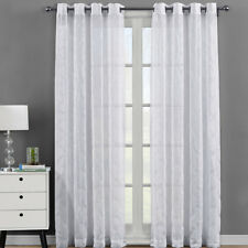 Pair (Set of 2) Miller Embroidered Grommet Top Sheer Panel Curtain Sets