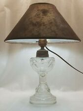 Antique Oil Lantern Electric Up-Cycled Folk Art Accent Table Lamp and Lampshade