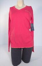 Tommy Hilfiger Pink & Metallic V-Neck Long Sleeve Lightweight Sweater Women's