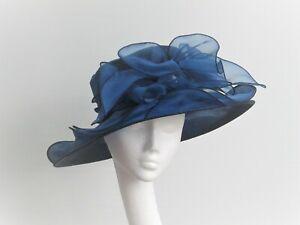 Navy Blue Organza Crush Proof Wedding / Races Hat