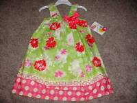 Jessica Ann Toddler Girl Pink Green Floral Bow Dress Size 4T 4 NWT Summer Spring